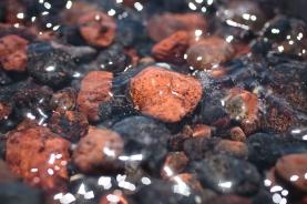 Red beach rocks